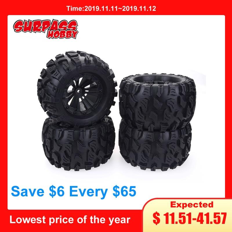 4Pcs RC Rubber Sponge Tires Tyre Rim Wheel For 1/10 1/8 Models Car HSP Off Road JLB Monster Truck 94111 94108 94188