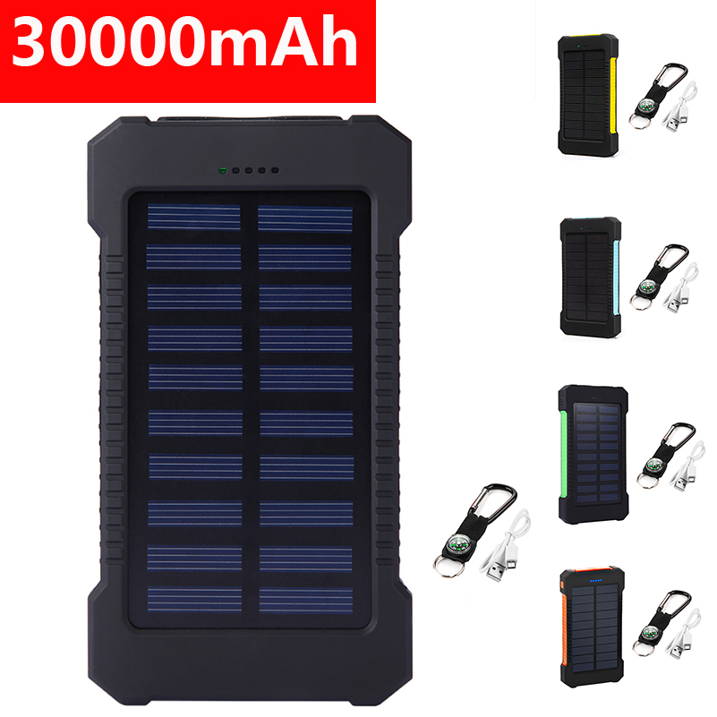 Top <font><b>30000mAh</b></font> Portable <font><b>Solar</b></font> Powerbank <font><b>Waterproof</b></font> Compass <font><b>Solar</b></font> Charger Dual USB Battery <font><b>Bank</b></font> Externa Pack for iPhone Smartphone image