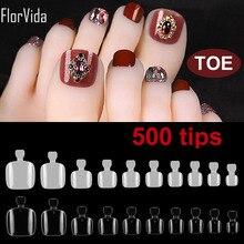 Florvida 500pcs Fashion Toe False Nail Tips Full Cover Detachable Fake Nails Feet Beauty