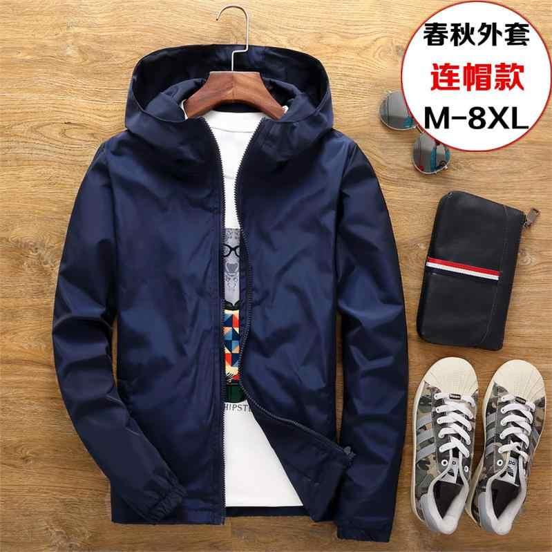 ジャケット男性の大サイズ夏爆撃機春ウインドブレーカー布ストリートコートフード 2019 ファッション男性服 7XL プラスサイズ 6XL