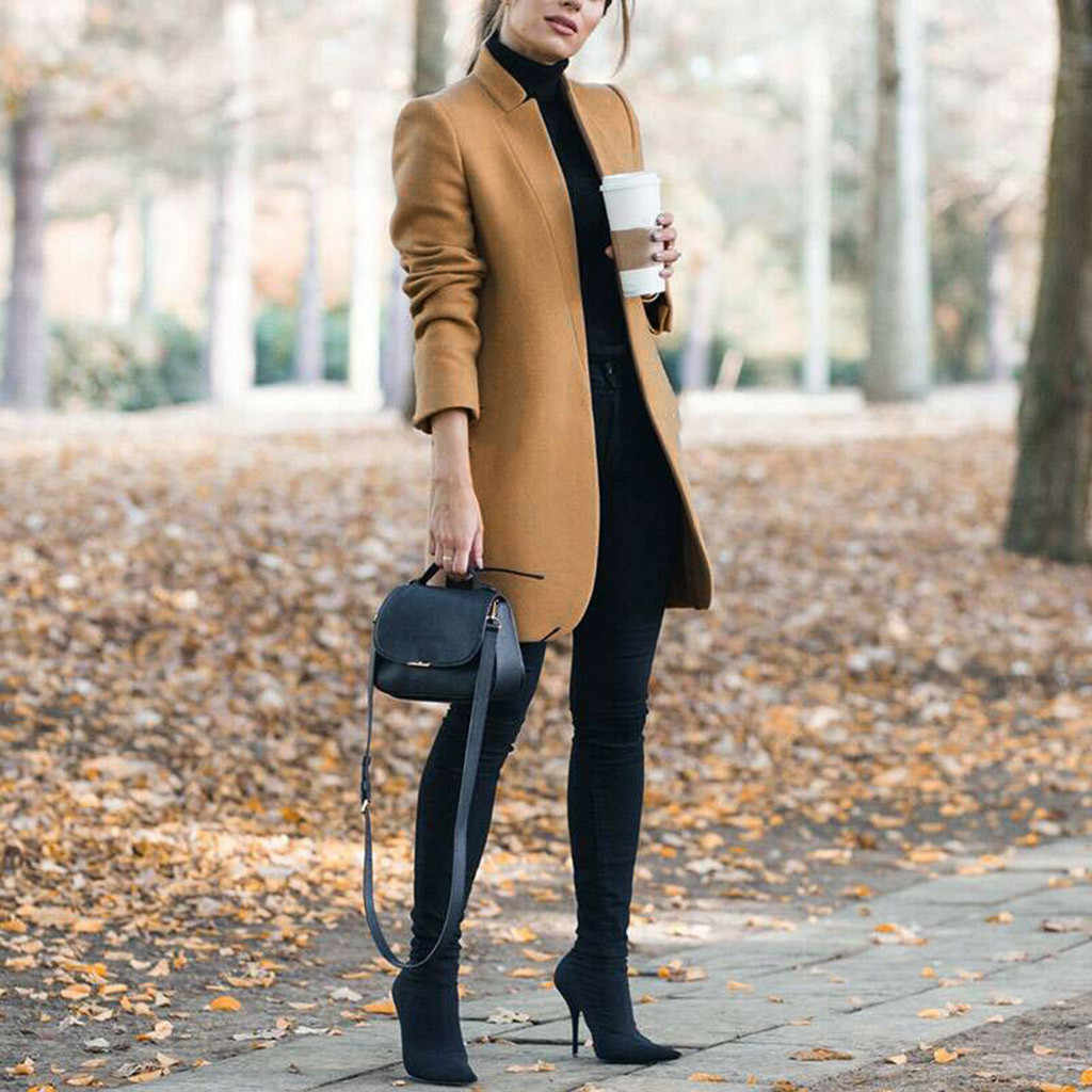 2019 Blends Woolens Overjas Vrouwelijke Jas Herfst Winter Jassen En Jassen Vrouwen Plus Size Jas vrouwen Wollen Jassen Lange tops # J30