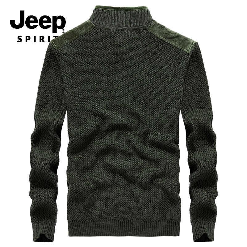 Jeep Spirit Merek Baju Musim Dingin Pria Bulu Lapisan Hangat Cardigan Pria Lengan Panjang Kerah Berdiri Sweatercoat Pria 100% Cotton Shirts