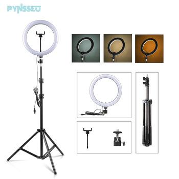 PYNSSEU 26cm lampa pierścieniowa LED z 1 1 1 6 2 0M świecący pierścień stojak ściemniania 10 #8222 Selfie lampa pierścieniowa z klips do telefonu do makijażu Youtube tanie i dobre opinie CN (pochodzenie) NONE Pakiet 1 Wtyczka UE Światło dzienne 5600 K Round Ring lamp 10 inch led lights 10 inch 26 CM with 1 4 screw