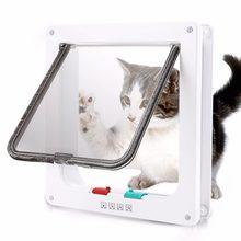 Dog Cat Flap Door with 4 Way Security Lock Flap Door for Dog Cats Kitten ABS Plastic Small Pet Gate Door Kit Cat Dogs Flap Doors