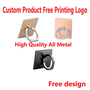 50pcs Custom Product Free Printing Logo High Quality All metal mobile phone ring buckle Finger Ring Holder mobile phone ring