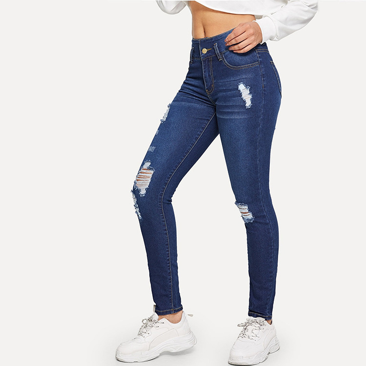 Foreign Trade  Export WOMEN'S Trousers AliExpress 2019 Spring And Autumn With Holes Jeans Europe And America Online