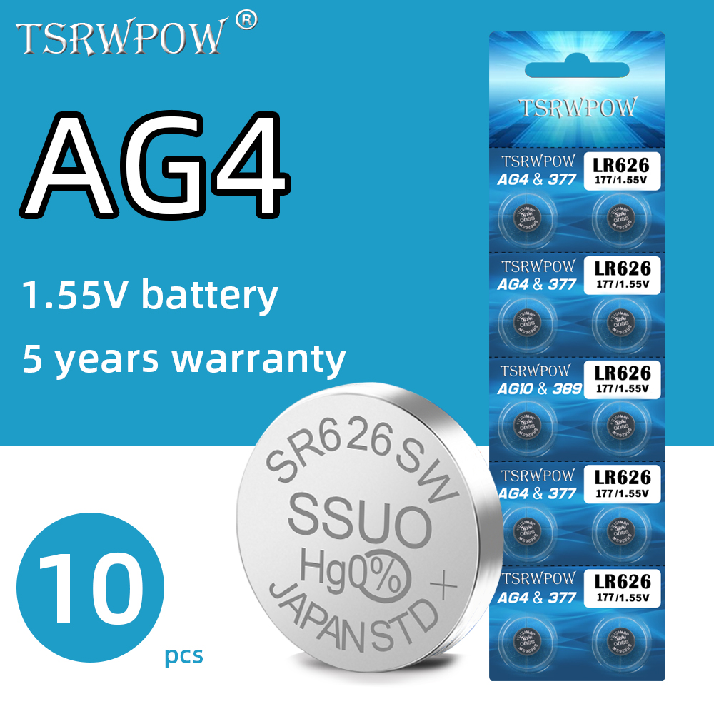 10pcs Original TSRPOW AG4 377A 377 LR626 Battery For Watch Toys Digital Camera Button Coin Cell Alkaline Lithium Batteries 1.55V