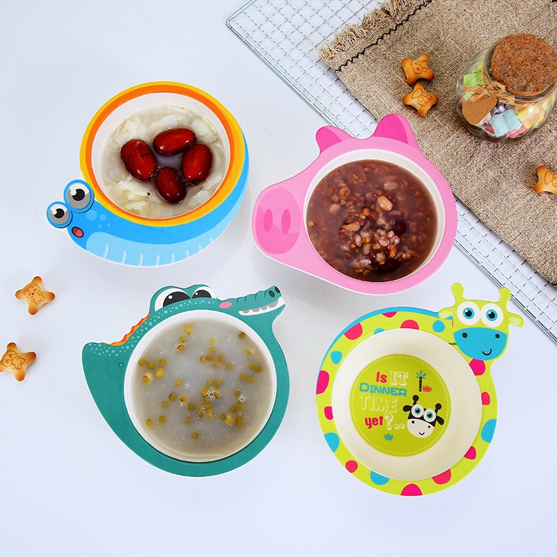Children's Bowl Bamboo Fiber Bowl Animal Pattern Cute Cartoon Baby Tableware With Box Kids Bowls