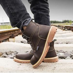 Image 3 - ブーツプラットフォームリベットの靴プラスサイズの男性が 2020 デザイナー鋼つま先キャップ保護作業靴ショートブーツ不滅