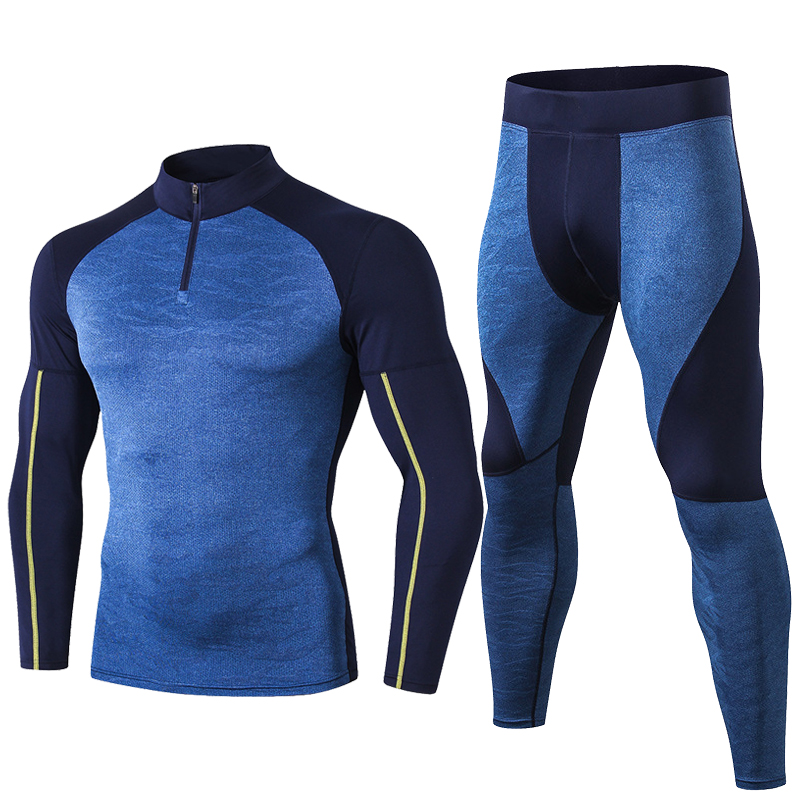Fanceey High Collar Winter Thermal Underwear Men Long Johns Men Rashgard Shirt Leggings Warm Sport Compression Underwear Thermo