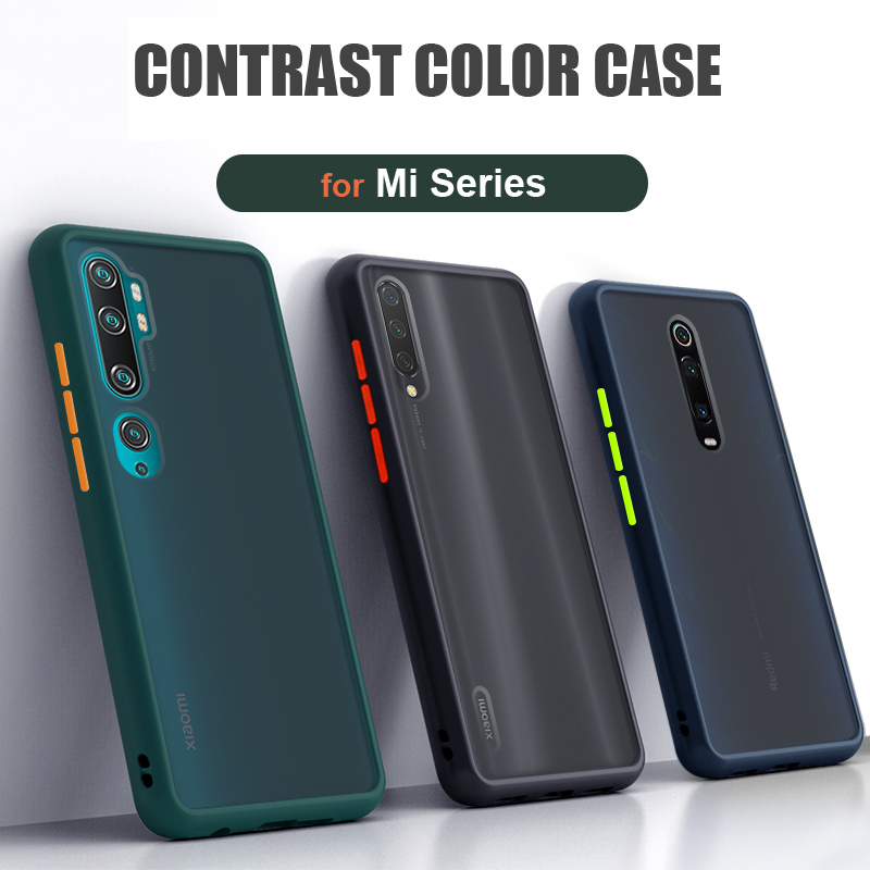 Case For Xiaomi Mi 9 9T Pro Lite Note 10 CC9 Pro CC9e Case Cover Contrast Color Frame Matte Hard Cases For Mi9 Mi9T Note10 Pro image