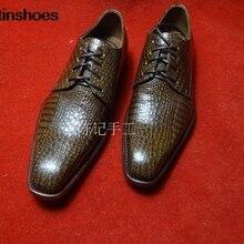 Zapatos Oxford, zapatos de vestir personalizados con suela de piel de becerro marrón, zapatos de piel de vaca hechos a mano con patrón de cocodrilo, de gama alta, personalizable, Vintage para hombres, color sólido