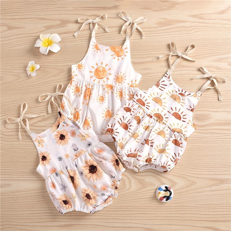 Pelele sin mangas con estampado de girasol para niñas, ropa de verano para bebés de 0 a 24 meses
