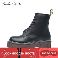 Smile Circle Size 35 42 Flat Platform Boots Women Shoes Autumn Winter Fur Fashion Round Toe Lace up Leather Boots Ladies Shoes