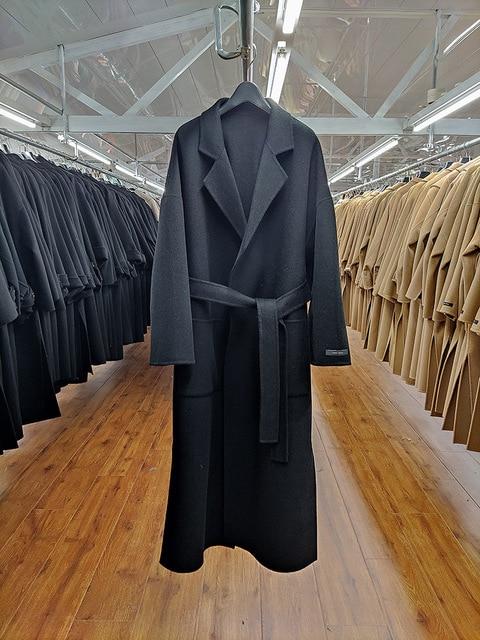 Купить женское двухстороннее шерстяное пальто черно серое свободное картинки цена