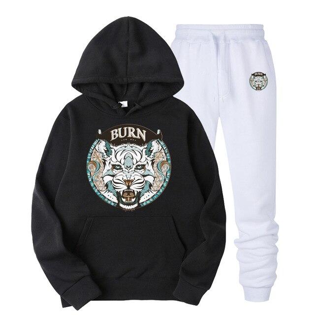 2019 Tiger Head Printing Men/Women Pullover Sweatshirt Autumn Winter  Warm Hooded Sweatshirt+Sweatpants Suit