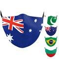 Многоразовые Австралия, Новая Зеландия, с принтом в виде маски Пакистан Бразилии Болгария Флаг рот маски для взрослых и детей смываемая мас...