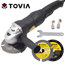 TOVIA 125mm Angle Grinder 950W Grinding Machine Cutting Wood Metal Stone Angle Grinder Adjustable Speed Grinding Power Tools trochilus400w drills grinding rotary machine mini grinder electric engravers adjustable angle grinder tools sets moledores80505