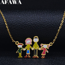 2021 Fashion Family Stainless Steel Necklace for Dad Mam Son Daughter Colored Statement Necklace Jewelry collares mujer N19420