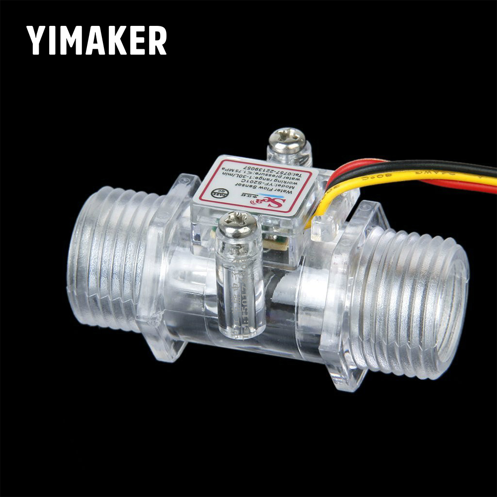YIMAKER G1/2inch DC3.5V-12V Water Flow Sensor Water Water Control Transparent Measurement Hall Flow Sensor Indicator