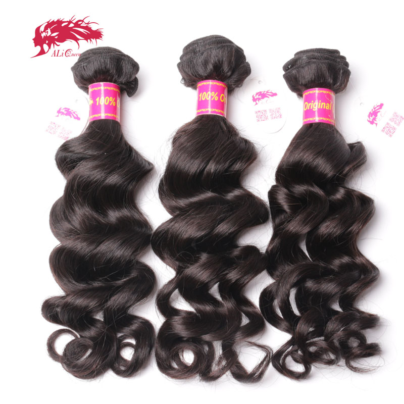 Ali Queen Hair 3Pcs Brazilian Virgin Hair Natural Wave Human Hair Weave Bundles Natural Color P/9A 8-30inch Mix Length