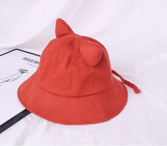 2020 Giral Korean Style Kawaii Hats Cat Ears Fisherman Hat Women Summer Japanese Art Solid Color Bucket Hats