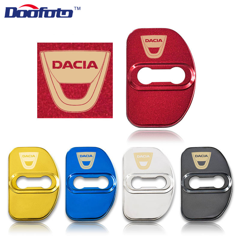 Doofoto 4x Car Door Lock Cover For Dacia Logan MCV Sandero Stepway Lodgy Accessories Styling Lock Protective Cover Shell