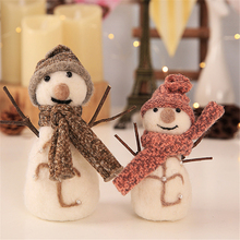 Christmas Ornaments Wool Felt Cute Snowman Doll Cloth Toy Mini Hang Hotel Window Decorations Kids Gift