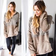 2019 Fall Winter Female Long Sleeve Patchwork Pullover Loose Warm Soft Outwear Ladies Zipper Lapel Top Women Faux Fur