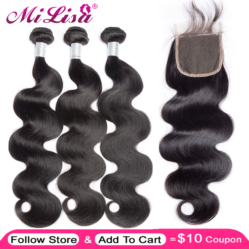 Brazilian Body Wave With Closure 3 Bundles Mi Lisa Hair Weave Bundle Remy Free Part Lace 4 Piece Human Hair Bundles With Closure