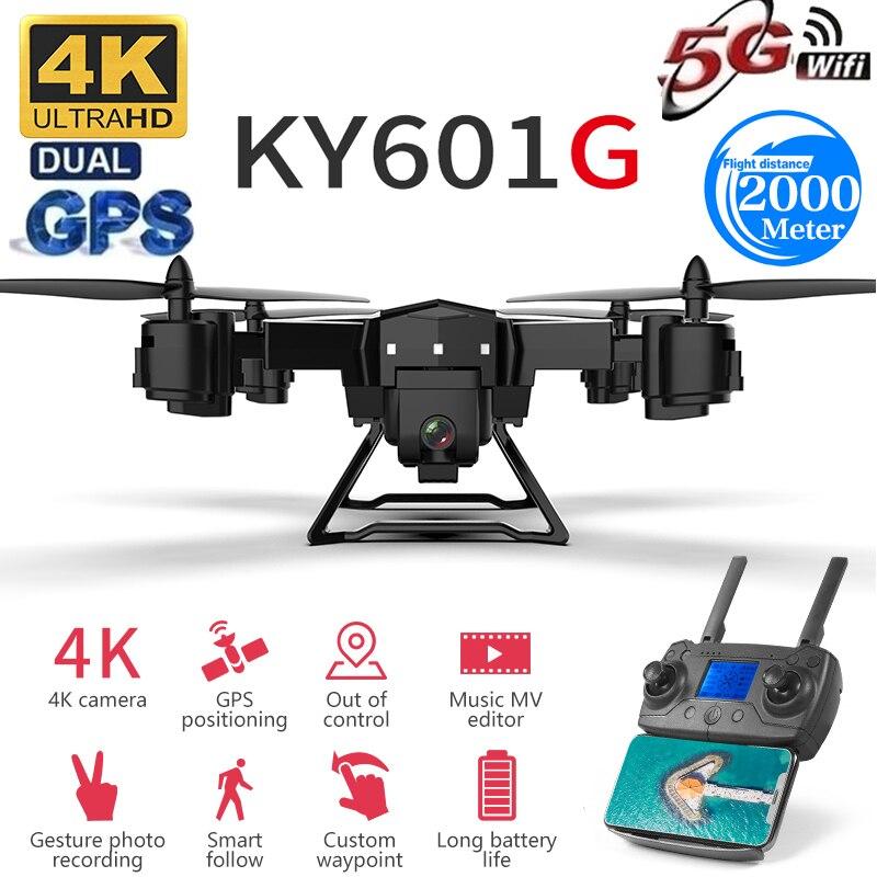 Nouveau Drone pro GPS 2000 mètres de Distance de contrôle Drone hélicoptère RC avec caméra 5G 4K HD quadrirotor pliable FPV WIFI KY601G
