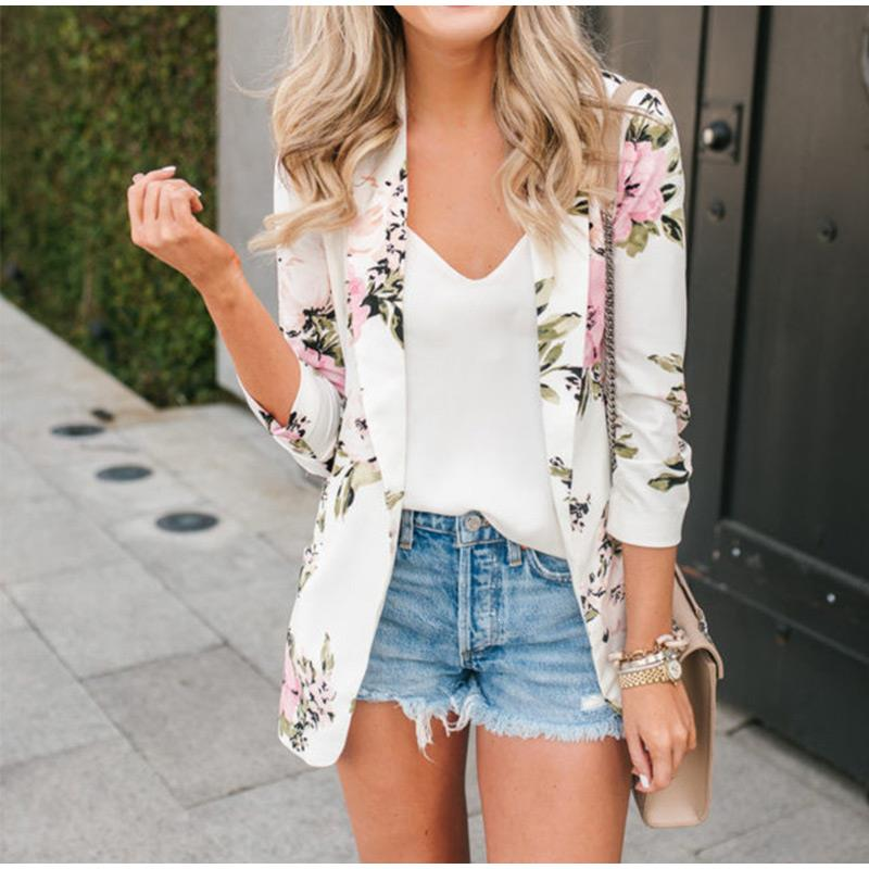 Vintage Notched Floral Female Blazer Jacket Print Elegant Blazers Jackets For Women Casual Ladies Cardigan