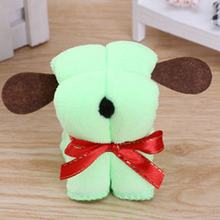 Uniuqe Lovely Cute Dog Shape Microfiber Cotton Towel Special Washcloth Wedding Persent Birthday Gifts Random Color(China)