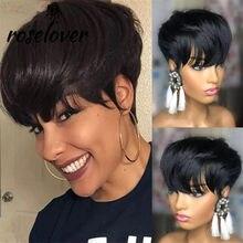 Roslover pixie corte em linha reta peruca brasileira remy cabelo de comprimento médio perucas de cabelo humano para mulher cor natural completa máquina feita perucas