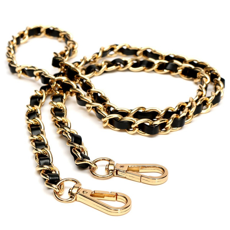 ABZC-Chain Purse Cross-body Handbag Shoulder Bag Strap Replacement Accessories Light Gold + Black120cm
