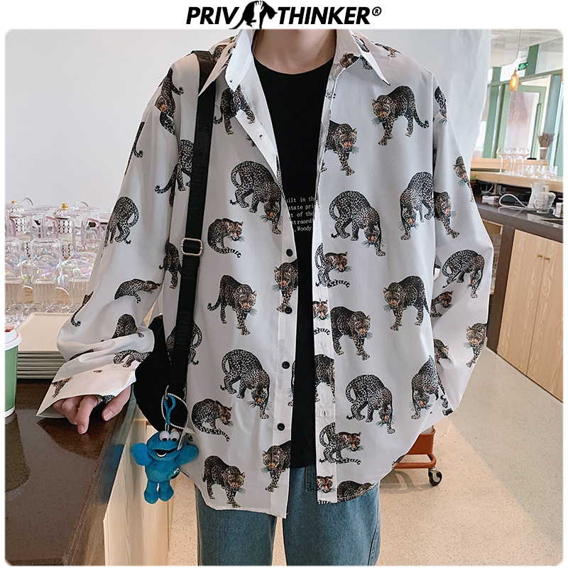 Privathinker Men Spring Printed 2020 Shirt Mens Street-Style Harajuku Causal Shirts Male Long Sleeve Plus Size Fashion Clothing
