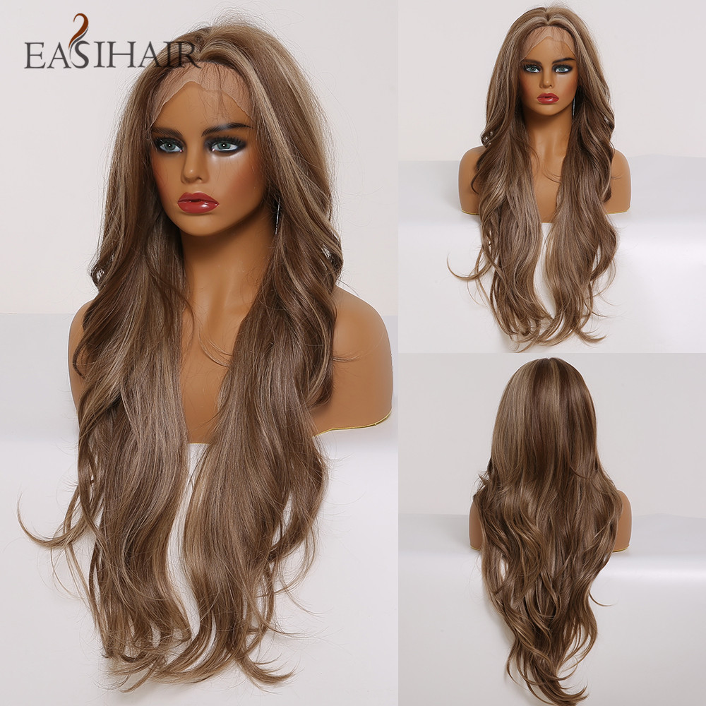 EASIHAIR Long Brown Ombre Lace Front Synthetic Wigs With Baby Hair Lace Wigs For Women High Density Daily Heat Resistant Wig