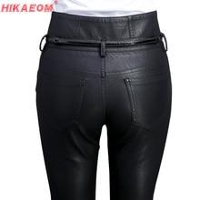 Женские узкие кожаные брюки с высокой талией, черные осенние повседневные брюки из искусственной кожи с пуговицами и карманами, байкерские брюки карандаш