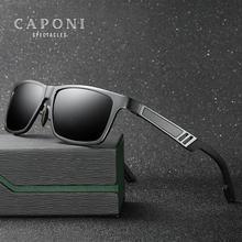 Солнцезащитные очки CAPONI Мужские поляризационные, зеркальные солнечные аксессуары квадратной формы, для вождения, с защитой от ультрафиолета, в винтажном стиле, CP6560