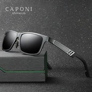 Image 1 - Солнцезащитные очки CAPONI Мужские поляризационные, зеркальные солнечные аксессуары квадратной формы, для вождения, с защитой от ультрафиолета, в винтажном стиле, CP6560