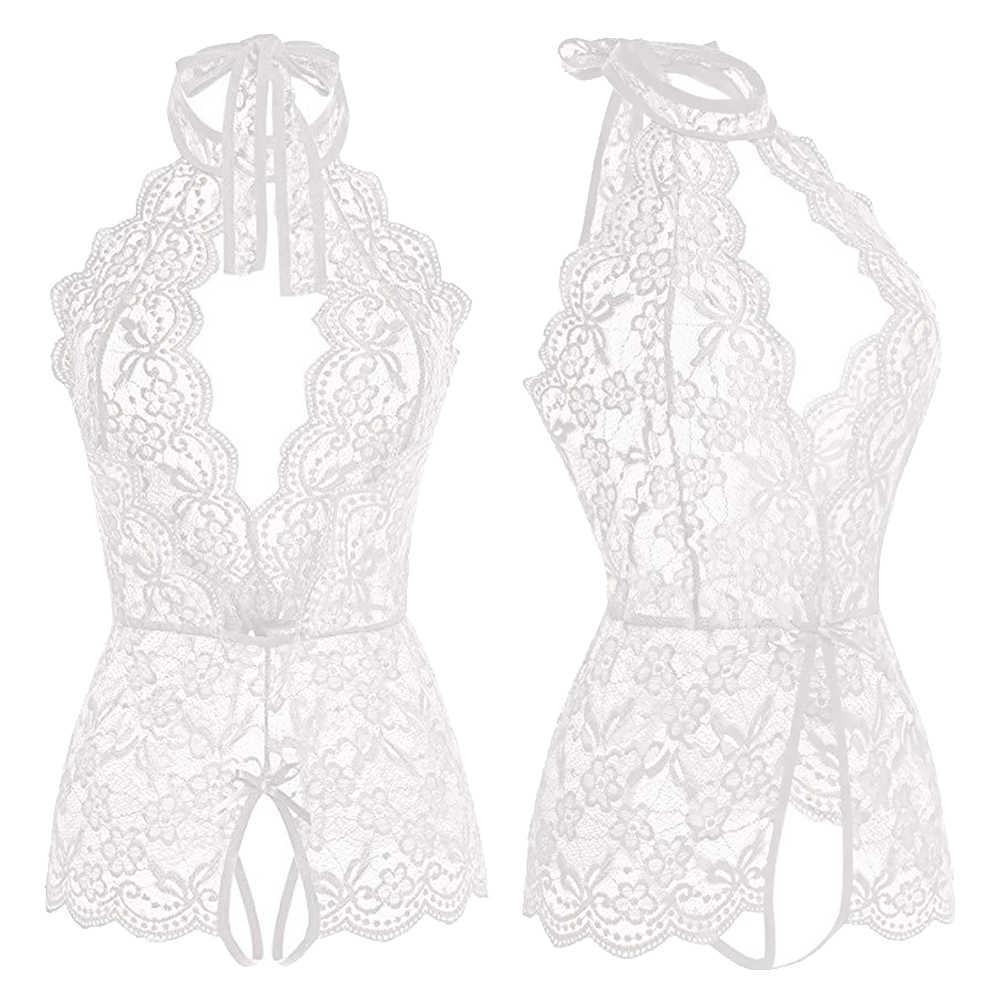 Wanita Seksi Crotchless Pakaian Dalam Wanita Deep V Renda Bunga Baju Tidur G-string Celana Dalam Babydoll Erotis Rok Kostum Pakaian Dalam Seksi