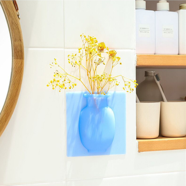 Removable Pots Wall Bottle Glass Stickers Vases Creative Sticky Accessories Silicone Container Body home Flowers DIY Decorations 2