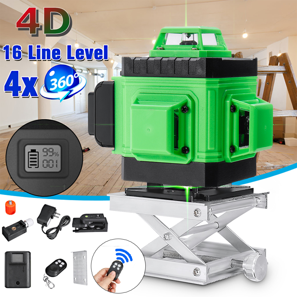 4D 16 zielone linie statyw z poziomicami laserowymi samopoziomujący 360 poziome i pionowe krzyż wysokiej, możesz o nich nadmienić na świeżym powietrzu laser o dużej mocy wiązki