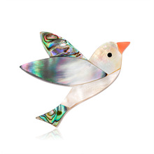 New European and American fashion upscale bird animal brooch natural abalone shell series corsage spot wholesale