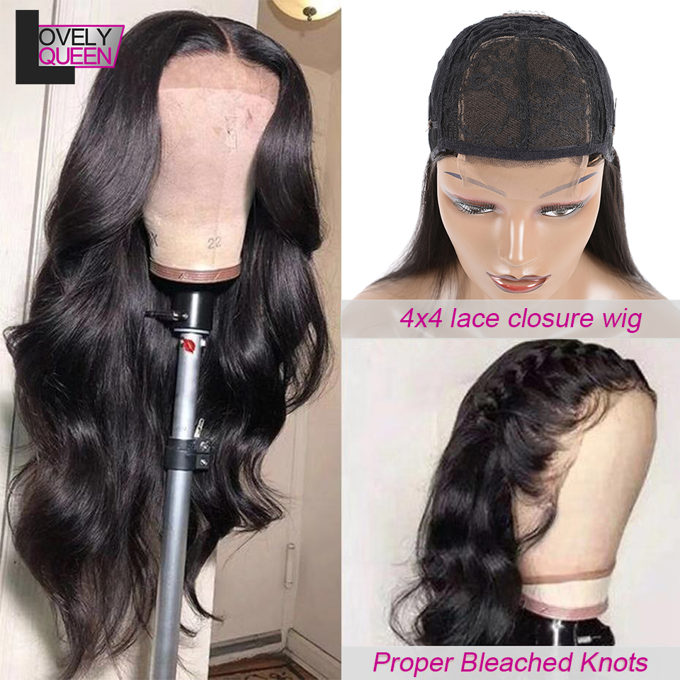 Brazilian Body Wave Closure Wig With Bangs For Black Women 4x4 Lace Wig Human Hair Wavy Wig Cheap With Free Shipping