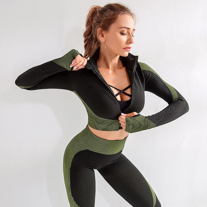 Gym Clothing Long Sleeve Sport Set 2pcs Yoga Tracksuit Women Elastic Yoga Set Gym Shirts With Zipper And High Waist Yoga Pant