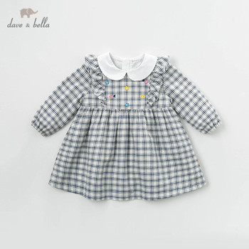 DBM13517 dave bella spring baby girl's princess floral plaid dress children fashion party dress kids infant lolita clothes image