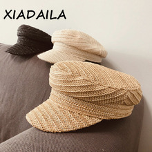 2020 New High Quality Design Military Caps Wisk Material Women Straw Hat With Popular Breathable Visor Cap