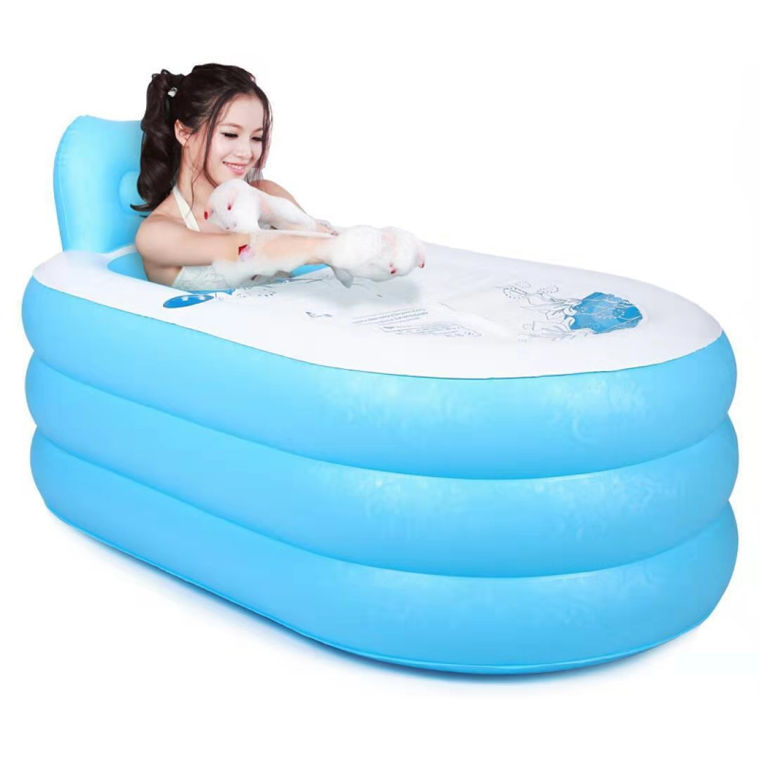 150x80x70cm Large Size Inflatable Bath Bathtub SPA PVC Folding Portable For Adults With Air Pump Household Inflatable Tub