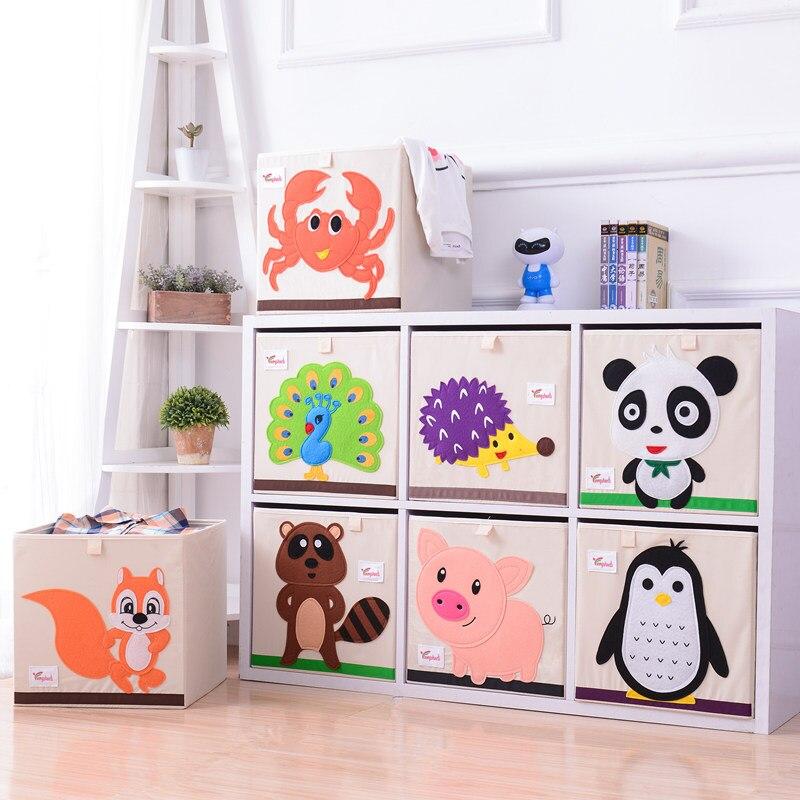 13 Inch Cartoon Children Toy Box Organizer Storage Box Folding Washed Basket Children Oxford Cloth Wardrobe Clothes Organizer